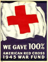 Image of 7294-944 - Sign, Red Cross, We Gave 100%...1945 War Fund; Small, Paper