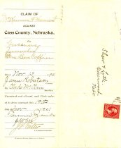 Image of 7648-299 - Claim, Bill, Unpaid, Grocery; Claim of McKinnon & Cheuront Against Cass County, Neb.
