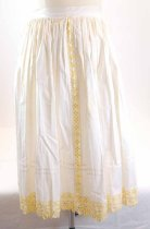 Image of 13294-3-(3) - Apron, Kroj; White with Yellow and White Floral Crocheted Trim