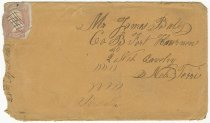 Image of 10094-17 - Envelope, to James Bates. Co. B; Fort, April 28, 1863
