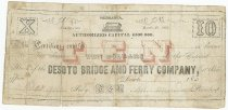 Image of 2592 - Bank Note, Desoto Bridge and Ferry Co., $10;