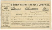 Image of 7562-103 - Receipt, US Express Co, 1859; $1000 Gold Coin