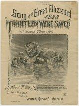 Image of 8731-50 - Sheet Music, Thirteen Were Saved; Song, Great Blizzard 1888, Nebr. Minnie Freeman