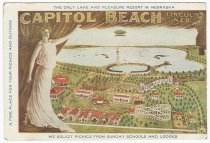 Image of 8893-181 - Blotter, Capitol Beach; Only Lake and Pleasant Resort in Nebraska, Arial View