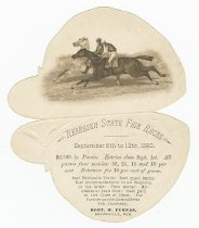 Image of 13000-3093 - Card; NE State Fair Races, 1890, Shaped Like Jockey Cap