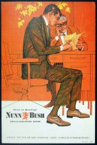 Image of 11928-140 - Print, Two Men Sitting At A Desk, One Man Is Writing On Some Papers, Nunn-Bush Ankle-Fashioned Shoes Advertisement, by Glen Fleischmann