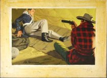 "Image of 11928-25 - Painting, Man Pointing A Gun At A Soldier, ""The Impudent Rifle Part 6"", by Glen Fleischmann"