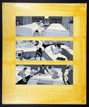 Image of 11928-40 - Painting, Three Bedroom Scenes, Erwin Mills Advertisement, by Glen Fleischmann