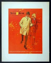 Image of 11928-51 - Print, Man And Woman Walking In The Rain, Nunn-Bush Ankle-Fashioned Shoes Advertisement, by Glen Fleischmann
