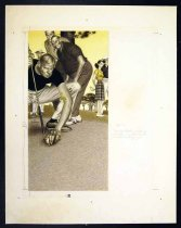 "Image of 11928-88 - Painting, Man Putting A Golf Ball On A Tee, ""Golf with Mirrors"", by Glen Fleischmann"