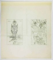 """Image of 11928-217 - Sketch, Man Yelling Into Microphones At A Podium, Man Tied To The Stake, """"The Candidate"""", """"The Heresy Trial Of Bishop Pike"""", by Glen Fleischmann"""