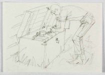 "Image of 11928-262 - Sketch, Man Refilling A Gas Generator, ""Your Vacation Home"", by Glen Fleischmann"