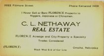 Image of 9618-178 - Card, Advertising; C.L. Nethaway, Real Estate, Florence, Nebraska