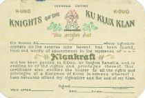 Image of 13338-17 - Card, Membership; KKK, Knights Kamellia, Blank