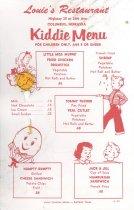 Image of 13373-36 - Menu; Kid's, Louie's Restaurant, Columbus, NE