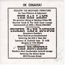 Image of 13373-88 - Napkin; The Gas Lamp, Ticker Tape Lounge, and The Brothers, Omaha