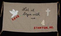 Image of 13352-101 - Banner; Nebraska Peace Ribbon, 1985, Begin With Us