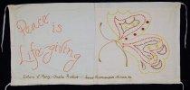 Image of 13352-109 - Banner; Nebraska Peace Ribbon, 1985, Peace is Life-giving