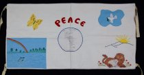 Image of 13352-110 - Banner; Nebraska Peace Ribbon, 1985, Merriman Methodist