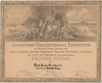 Image of 577P-2 - Certificate, Anna Burckhardt; Bronze Medal Awarded by Jamestown Tercentennial Exposition