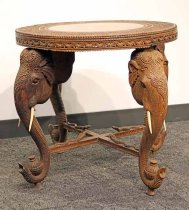 Image of 8178-1 - Table, Elephant Carvings; Made in India