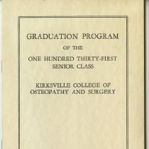 Image of 1979.280 - Kirksville College of Osteopathy and Surgery Commencement Program