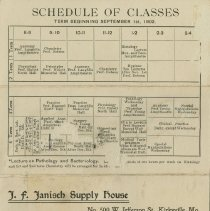 Image of 1983.818 - American School of Osteopathy Class schedule, Spring 1902