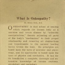 Image of 1994.1573 - What Is Osteopathy?