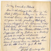 Image of Letter written to friends and patients