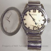 Image of 2008.59 - Bulova Braille watch with medal expandable watch band