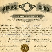 Image of 2009.13 - Certificate of Membership: Atlas Club, Paul J Stryker, DO,