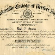 Image of 2009.13 - Kirksville College of Perfect Sight Certificate to Dr. Paul J. Stryker