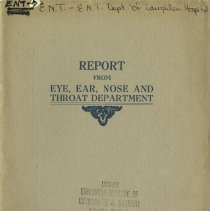 Image of 2009.49 - Report from Eye, Ear, Nose and Throat Department