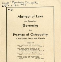 Image of 2010.02 - Abstract of Laws Governing the Practice of Osteopathy