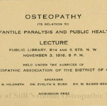 Image of 2010.02 - Osteopathy, its relation to infantile paralysis and public health