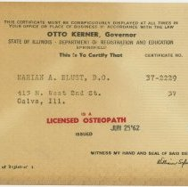 Image of 1995.303 - Osteopathic License of Marian Almgren Blust