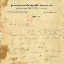 Image of Latter from PA Osteopathic Sanitorium