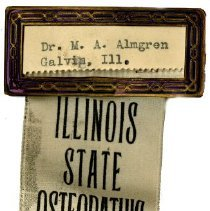 Image of 1995.303 - Illinios Osteopathic Association name tag of M.A. Almgren
