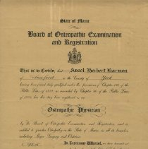 Image of Osteopathic license of Ansel Herbert Harmon