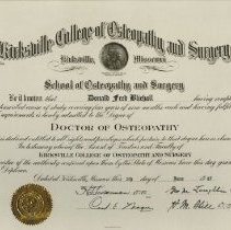 Image of Diploma of Donald Fred Bliehall