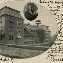 Image of American School of Osteopathy Postcard with portrait of Dr. Andrew Taylor S