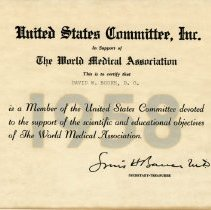 Image of 2004.117 - Membership Certificate, United States Committee, Inc.