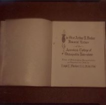 """Image of 2011.01 - Slide of book title page, """"The First Arthur D. Becker Memorial Lecture of the American College of Osteopathic Internists;"""""""