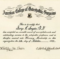 Image of 2004.204 - American College of Osteopathic Surgeons Honorary Membership