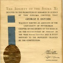 Image of Society of Sigma XI Certificate