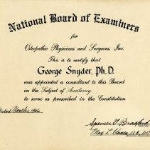 Image of National Board of Examiners Certificate