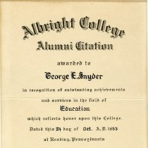 Image of Albright College Alumni Citation