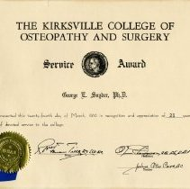 Image of Kirksville College of Osteopathy and Surgery Service Award