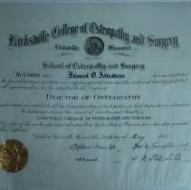 Image of 2004.207 - Kirksville College of Osteopathy and Surgery Edward O. Johnstone Diploma