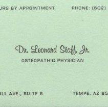 Image of 2011.28 - Business card for Dr. Leonard Staff Jr., D.O.